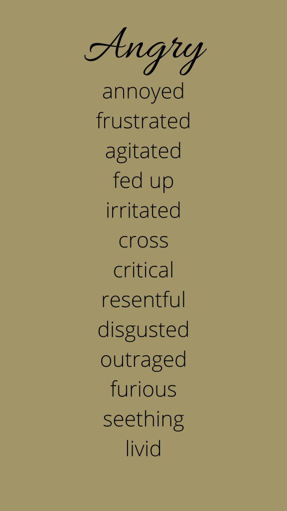 A list of emotions connected to anger.