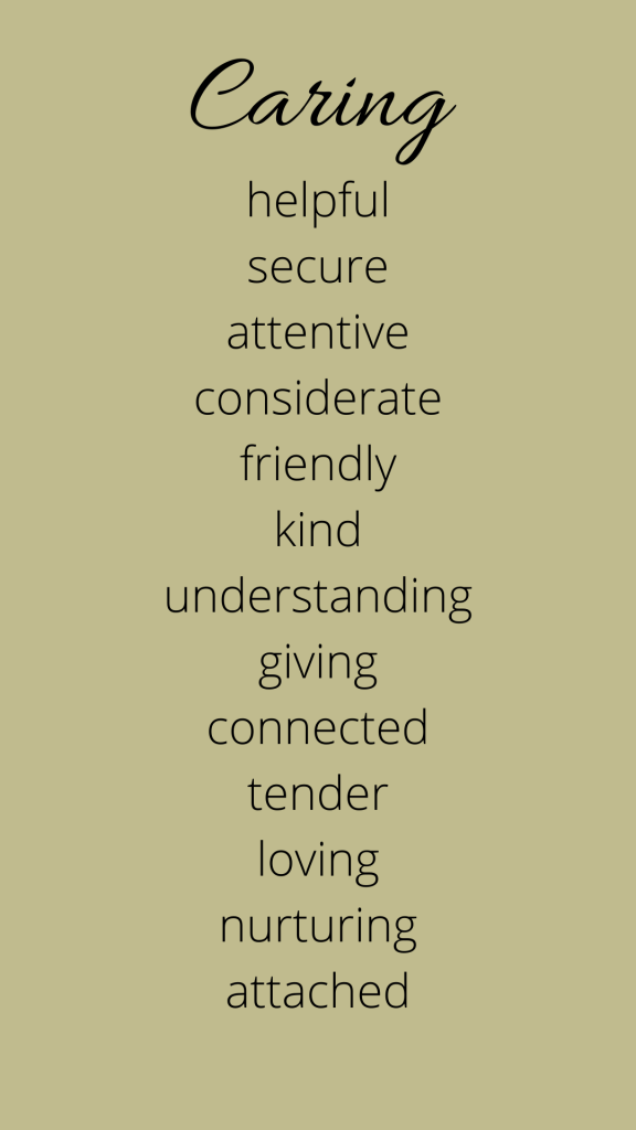 A list of emotions connected to caring.